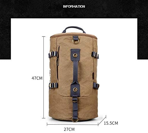 多機能大容量キャンバスリュック円筒アウトドアレジャースポーツ旅行バッグブルー、ブラウンキャリング複数の方法 HMMSP (Color : Brown)