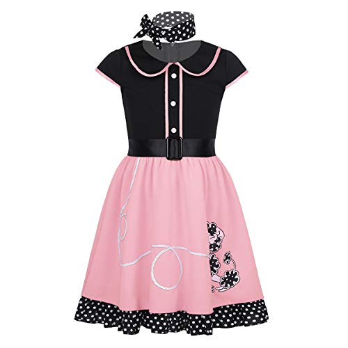 iEFiEL Girls Kids Dance Ballet Tutu Dress LOL Doll Surprised Costumes Halloween Cosplay Dress up Party Pink Cartoon -