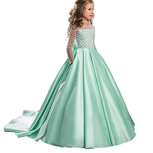 Christmas Flower Girl Dress Floor Length Button Draped Tulle Ball Gowns for Kids (10, Mint) -