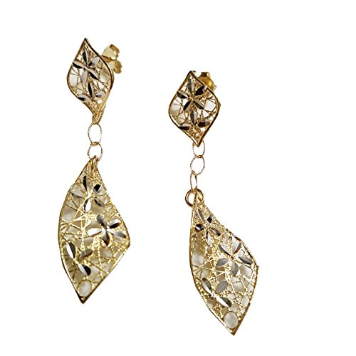 Boucles d'oreilles pendantes en Or jaune et blanc 18carats (750/000) Gr. 2,90