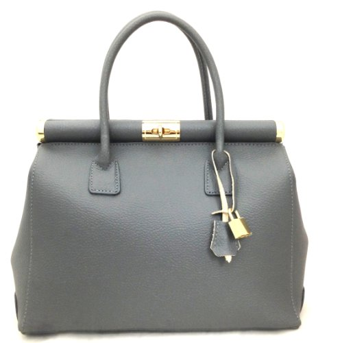 by Beige Gray Made leather CTM Italy shoulder Satchel with Genuine and Elegant strap handles Bag in Woman 35x28x16cm TttwOqx45