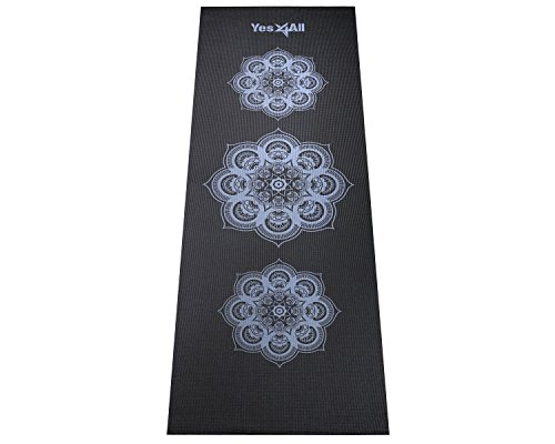 Yes4All Printed PVC Yoga Mat (Hypnotica Black - 68