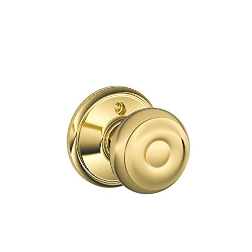Geo Bright Brass Finish - Schlage Lock Company Georgian Knob Non-Turning Lock, Bright Brass (F170 GEO 605)