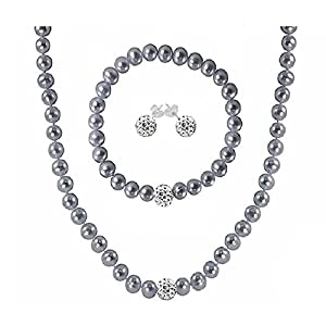 Regalia by Ulti Ramos 17 Inch Cultured Freshwater Pearl (7mm) & Crystal Sterling Silver .925 Jewelry Set (Gray)