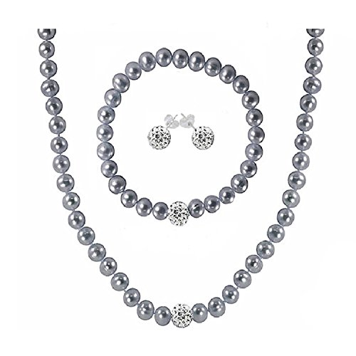 Regalia Cultured Freshwater Pearl Jewelry Set in Rhodium Plated Silver. Assembled in the U.S.A. (Gray) (Plated Set Pearl)