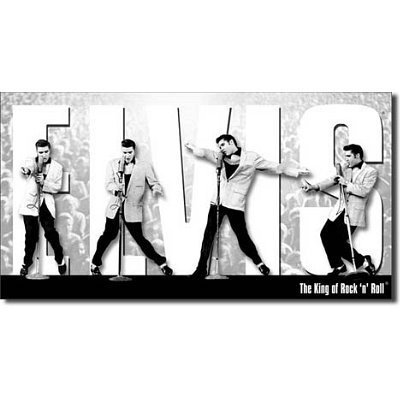 (Elvis Presley The King of Rock n Roll Montage Retro Vintage Tin Sign by Poster Revolution )