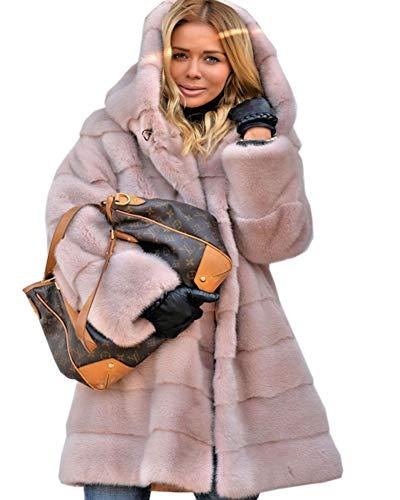 Roiii Womens Winter Luxury Outerwear Long Sleeve Faux Mink Faux Fur Plus Size Hooded Coat (2XL, Pink)