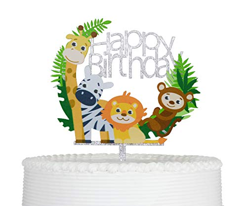 Happy Birthday Cartoon Animals Cake Topper Acrylic Baby Child Party Decoration Supplies Silver Glittery