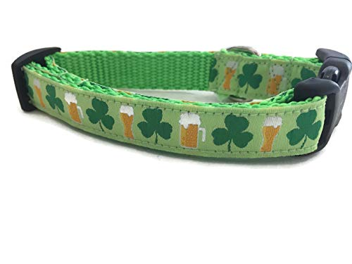 St Patricks Dog Collar, Caninedesign, Shamrock, Beer, Leprechaun, 1 inch Wide, Adjustable, Nylon, Medium and Large (Shamrocks and Beer, 5/8 Small 9-13