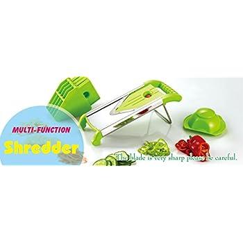 P-ware Mandoline Slicer Green for Vegetable & Cheese Slicer - Stainless Steel Blades - Food Safe Plastic - All-in-One Vegetable Cutter, Slicer, Grater & Julienne Slicer
