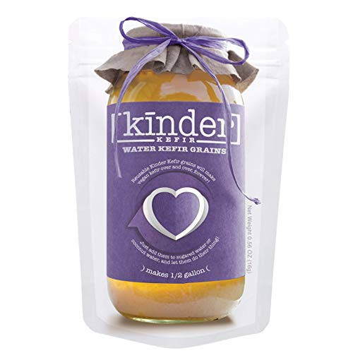 Water Kefir Grains by The Kinder Company | Live Organic Starter Culture Kit | Make 1/2 gallon carbonated water kefir or coconut kefir - forever!