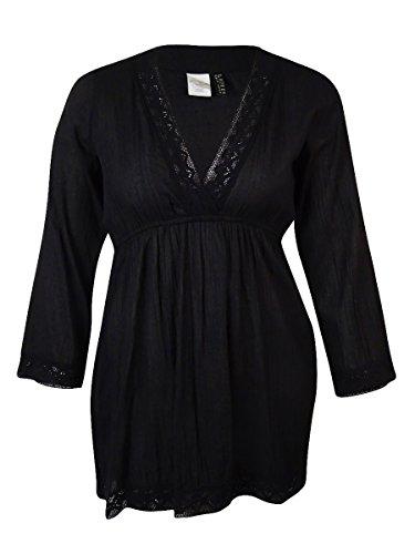 RALPH LAUREN Lauren Women's Crochet-Trim Cotton Tunic Cover-Up (S, Black)