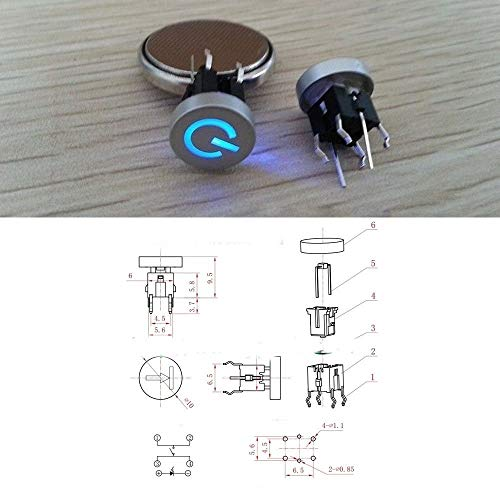 5pcs Blue LED 10mm Cap Power Symbol 12V 50mA Momentary Tact Push Button Switch (Switch Symbol)