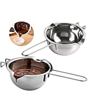 Sooupowly Double Boiler Pot 600ml Stainless Steel Double Boiler Pot with Heat Resistant Handle,for Melting Chocolate, Butter, Cheese, Caramel and Soap Making
