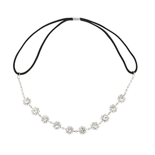 Lux Accessories Floral Crystal Pave Queen Bridal Bridesmaid Flower Girl Stretch ()