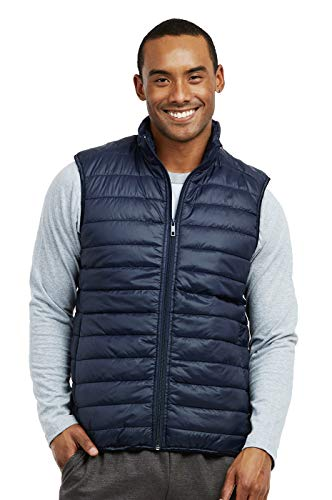 ET TU Men's Lightweight Puffer Vest (L, Navy) ()