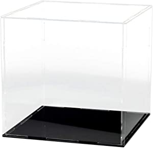LANSCOERY Clear Acrylic Display Case Assemble Countertop Box Cube Organizer Stand Dustproof Protection Showcase for Action Figures Toys Collectibles (6x6x6 inch; 15x15x15cm)
