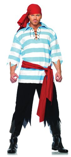 Leg Avenue Men's Pillaging Pirate Costume, Blue/White, Medium/Large - Sexy Pirate Man