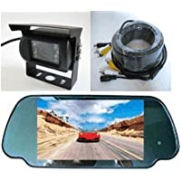 Rear View Mirror Camera System-7 LCD Reverse Monitor & Color CCD 700TVL Rear View Backup Camera with Rain Shield, Free Bonus of 32 ft RCA Extended Cable. - by YanTech USA