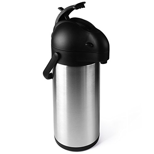 Cresimo 2.2 Liter Airpot Thermal Coffee Carafe/Lever Action/Stainless Steel Insulated Thermos / 12 Hour Heat Retention / 24 Hour Cold Retention by Cresimo (Image #4)