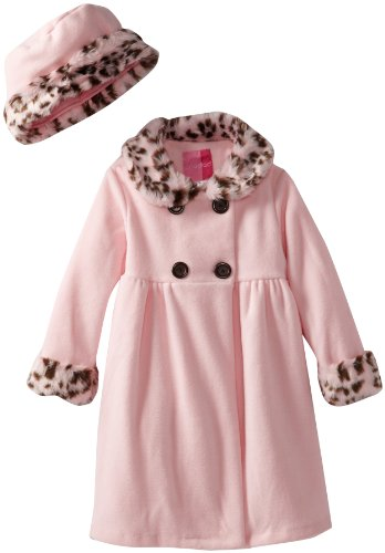 Good Lad Baby Girls' Fleece Coat with Leopard Fur Trim, Pink, 12 (Coat Pink Leopard)