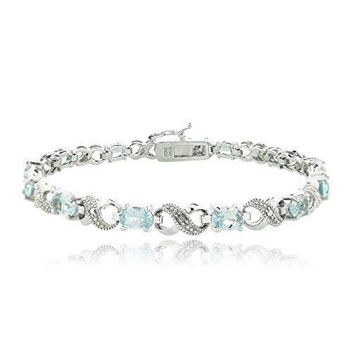 Silver Tone 6.6ct TGW Blue Topaz & Diamond Accent Infinity Bracelet (7.5)