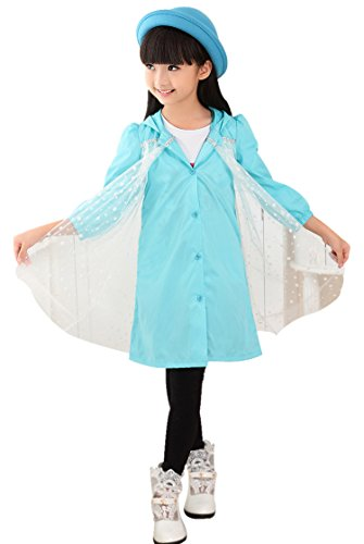Little Girls Cartoon Film Fingure Hooded Raincoat Jackets with One Layer Polka Dots