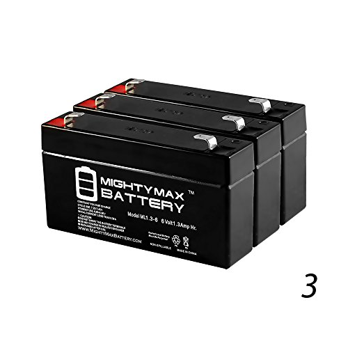 6V 1.3AH - 60-914 - Back-up Battery for GE Simon XT Panel - 3 Pack - Mighty Max Battery brand product