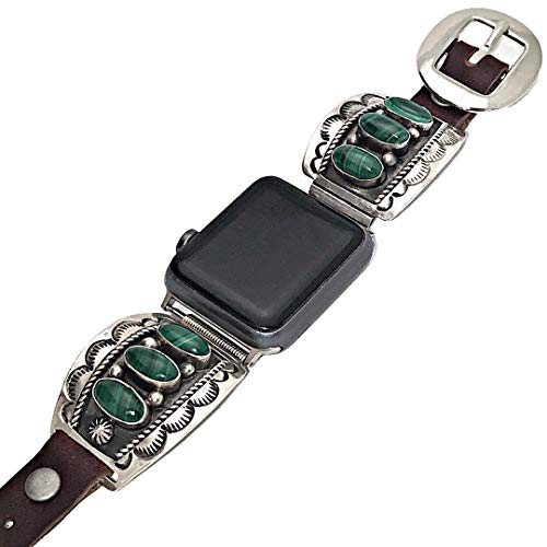 Genuine Green Malachite Gemstone Apple Watch Replacement Band in 925 Sterling Silver and Leather, Signed and Hallmarked Authentic Navajo Native American, USA Handmade, 38mm, 40mm, 42mm