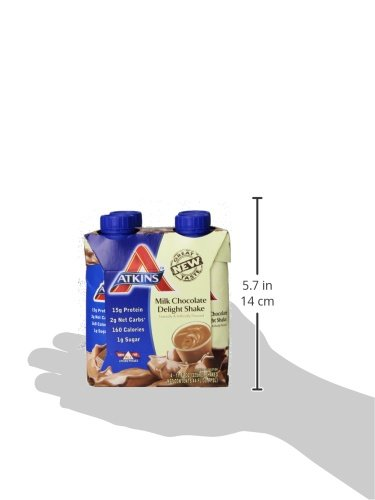 Atkins Ready to Drink Shakes,  Milk Chocolate Delight, 16g Protein, 2g Net Carbs, 1 g Sugar, 11-Ounce, 4-Count (packaging my vary)