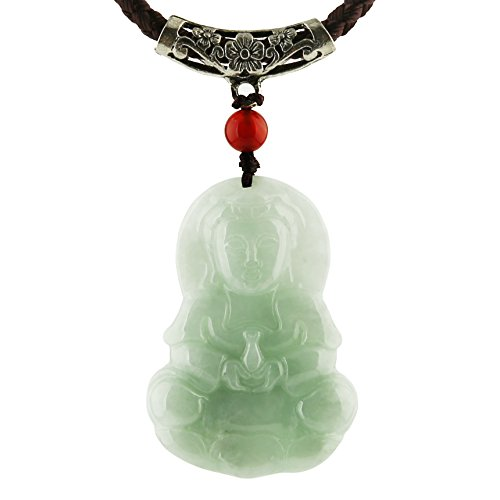 HZMAN Natural Genuine Green Jade Happy Maitreya Buddha Pendant Necklace Lucky Protection Powers Amulet (Goddess of Mercy)