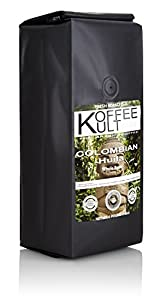 Koffee Kult Coffee Beans Colombia Huila - Highest Quality Delicious Organically Sourced Fair Trade - Whole Bean Coffee - Fresh Gourmet Aromatic Artisan Roasted