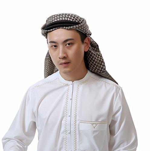 KEEN ZTQ Men's Muslim Headscarf Middle Eastern Pattern Arabic Head Cover Turban for men (24)