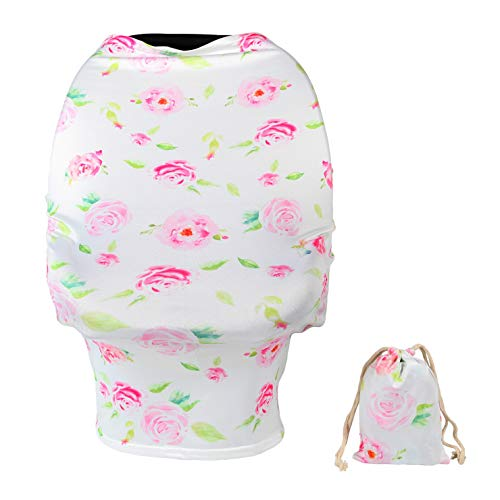 TUOKING Car Seat Covers for Babies, Silky Nursing Cover for Breastfeeding, Matching Storage Bag, Pink Rose