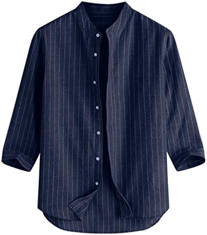 Wadonerful-men T-Shirt Stand Collar Three Quarter Sleeve Button Tops Blouse Summer Casual Linen Tee Shirts