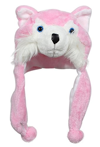 Snow Yeti Costume (Bioterti Plush Fun Animal Hats –One Size Cap - 100% Polyester With Fleece Lining (Pink Husky))