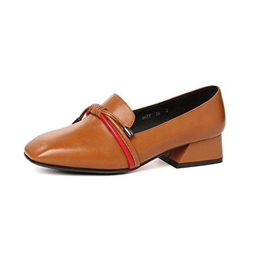 Cuero con Perezoso Zapatos con Brown de Irregular XZGC Mujer de Trabajo el Zapatos 8awn1qt