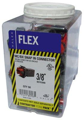 HALEX/SCOTT FETZER 85703NB 50 Piece 3/8'' MC/BX Snap In Connector Contractor Pack