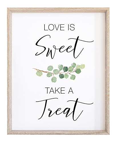 2 City Geese Love is Sweet Take a Treat Sign for Wedding Reception | Watercolor Eucalyptus Greenery On Textured Thick Cardstock Paper | (1) 8x10 Wedding Reception Decoration ()