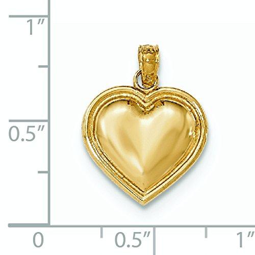 Or 14carats Pendentif Coeur Poli