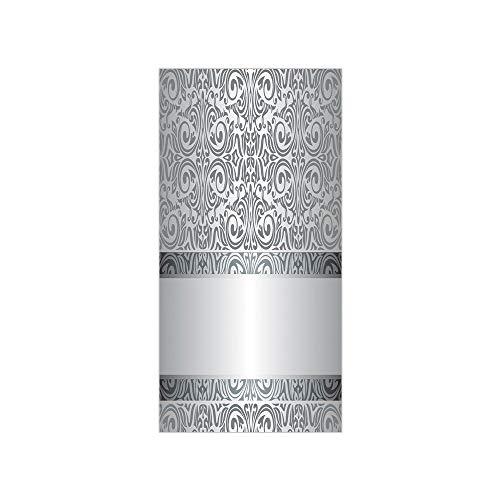 3D Decorative Film Privacy Window Film No Glue,Silver,Baroque Damask Curves Rococo Style Motifs Floral Renaissance Revival Design Decorative,Grey Light Grey,for Home&Office