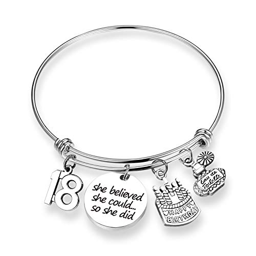 EIGSO Birthday Gift She Believed She Could Bracelet 18th Happy Birthday Jewelry Gift for Daughter Best Friend Teen (18th BR) ...
