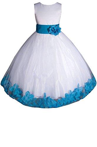 (AMJ Dresses Inc Little-Girls' White/Turquoise Flower Girl Dress E1008 Sz)