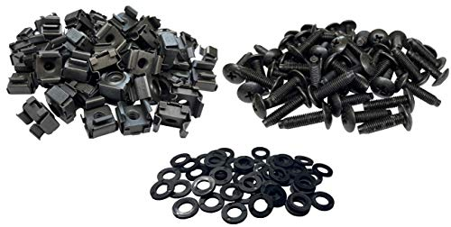 RackGold Black 10-32 Cage Nuts 50 Pack USA Made