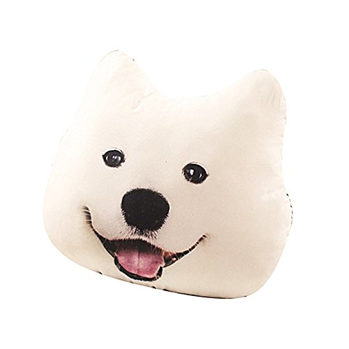 "Price comparison product image Mucloth Decorative 3D Print Samoyed Plush Pillow Cartoon Dog Head Sofa Cushion(17.7"" / 23.6"")"