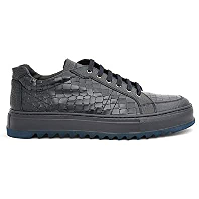 Giampieronicola Modish Navy Animal Print Leather Men Casual shoes