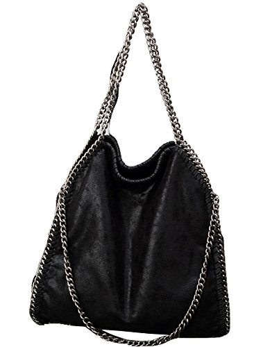 Travers Noir Tissu Bandoulière Main Noir Capacité Porté pour Chaîne Large de Epaule Rovanci Femmes Sac Filles Sangle à 1qRwqA0