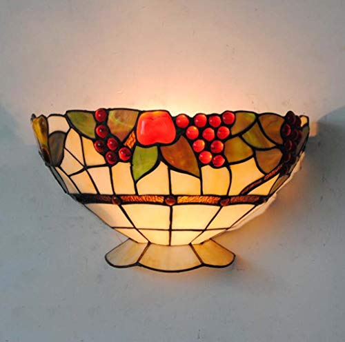 Tiffany Style Wall Light Fixtures, Wide 12 Inch Red Grape & Fruit Pattern Stained Glass Shade Sconces for Restaurant Bar Aisle Staircase, E27/E26