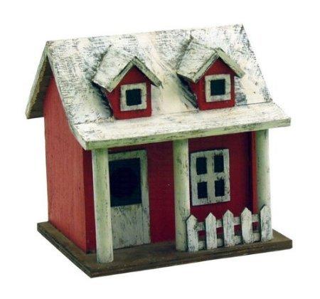 SONGBIRD ESSENTIALS 008117 Picket Fence Cottage Birdhouse, Red/White