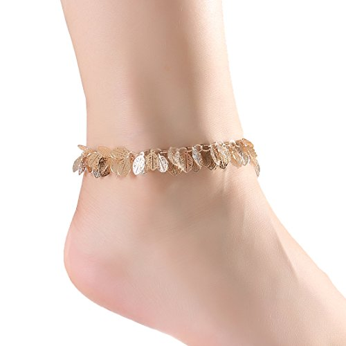 Boderier Brass Leaf Ankle Bracelet Chain Outdoor Barefoot Anklet Jewelry For Women
